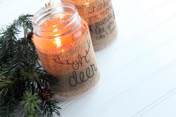 Burlap Mason Jar Candle Holders