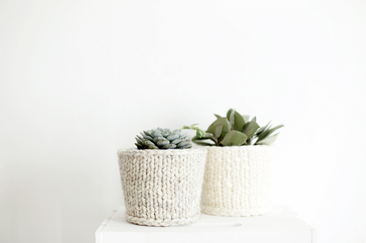Chunky Knit Planter Cover
