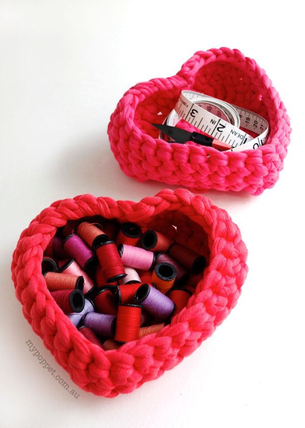Crochet Heart Shaped Storage Baskets