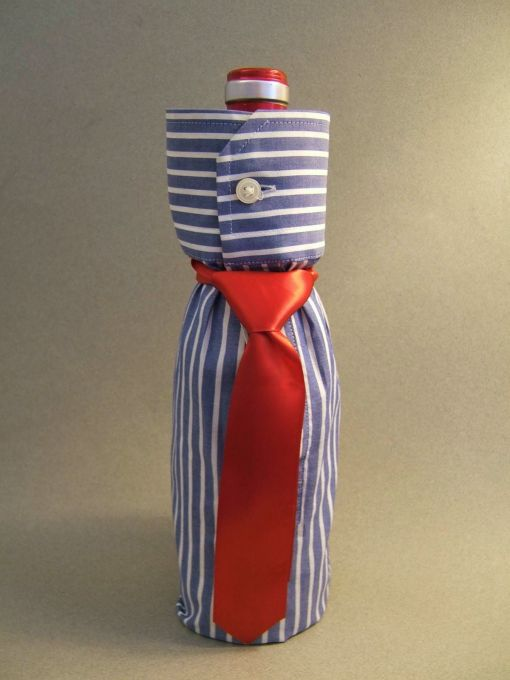 Dress Shirt and Tie Wine Bottle Gift Bag
