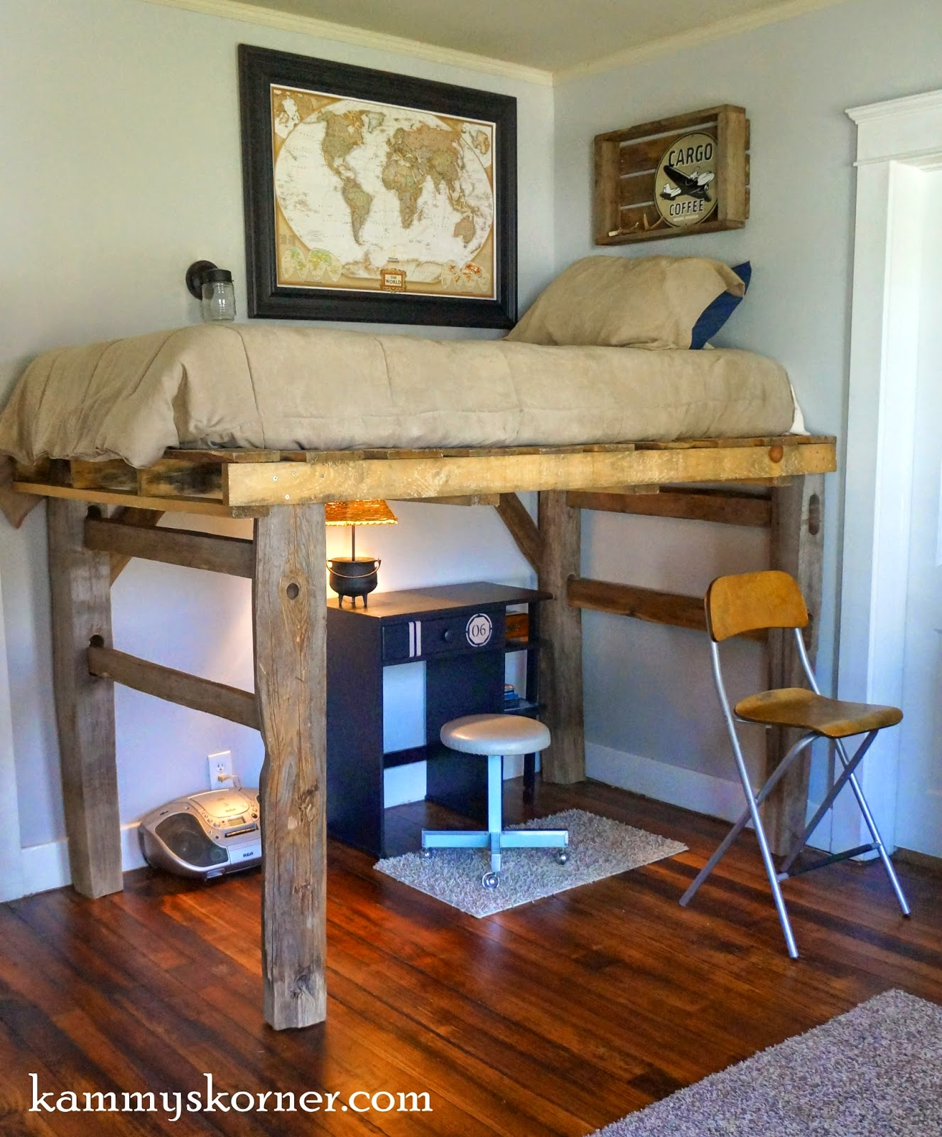 Fence Posts and Pallet Loft Bed