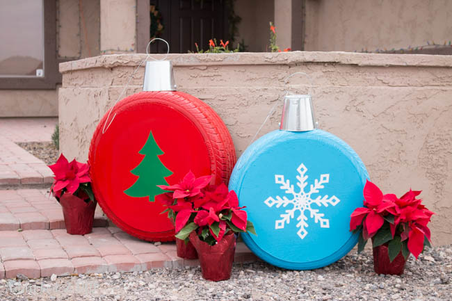 Giant Christmas Ornaments From Old Tires