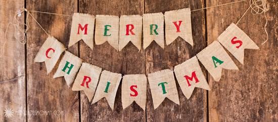 Merry Christmas Burlap Banner