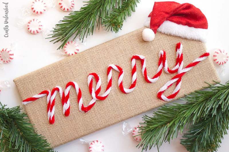 Merry burlap Christmas art