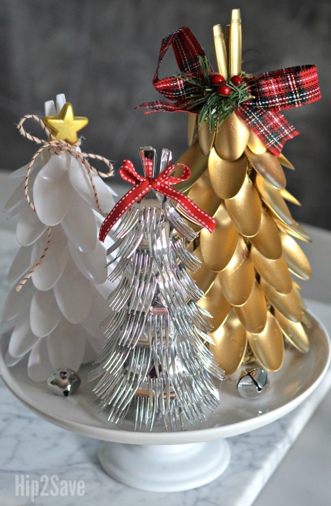 Plastic Spoon and Fork Christmas Trees