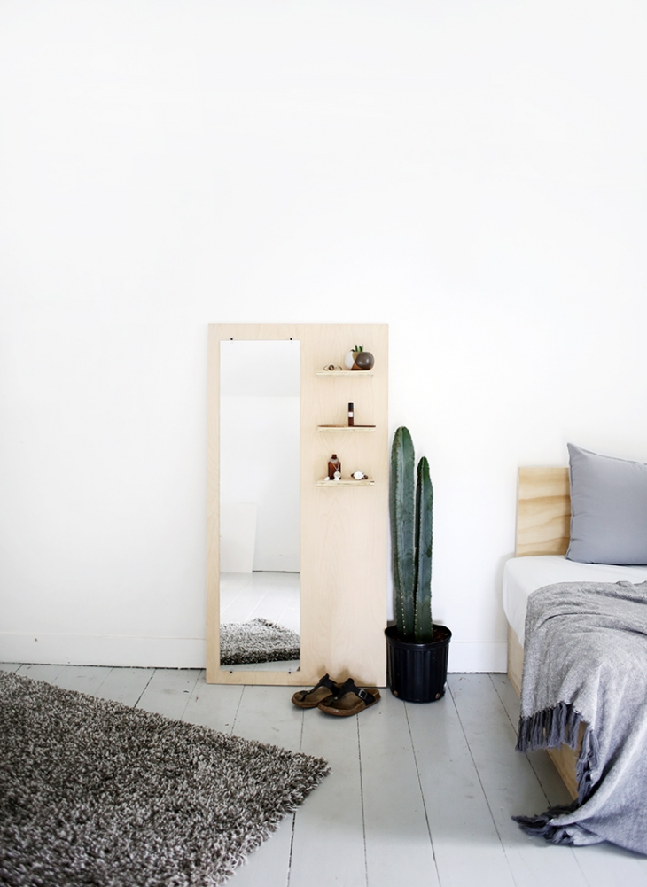 Plywood Floor Mirror With Shelves