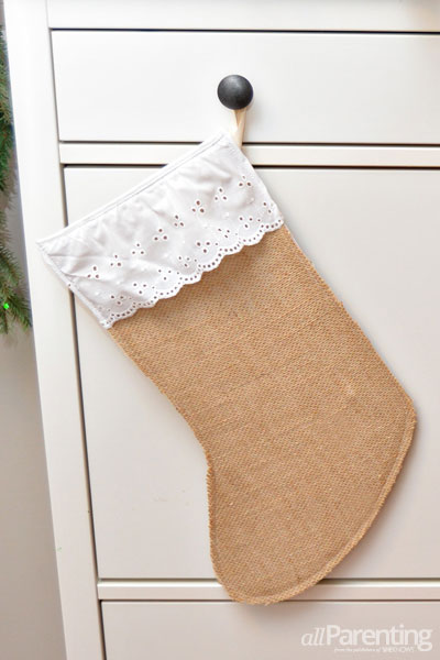 Pretty Burlap Christmas Stockings
