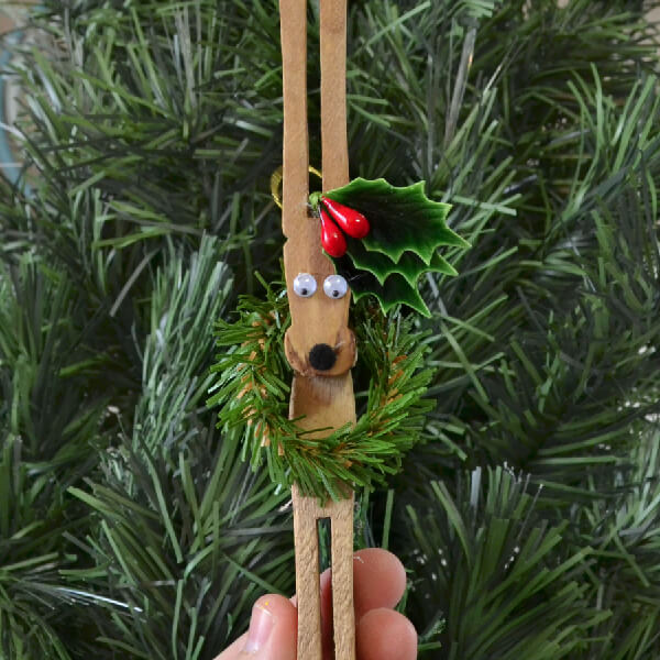 Reindeer Clothespin Christmas Ornament
