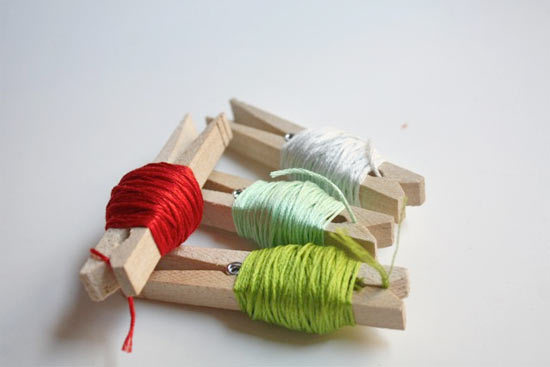 Thread Storage with Clothespins