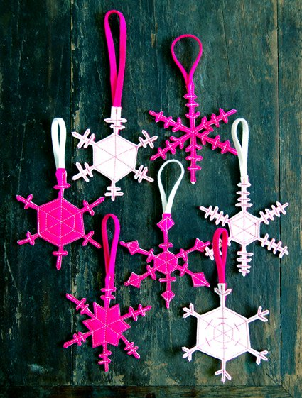 Two Sided Felt Snowflakes