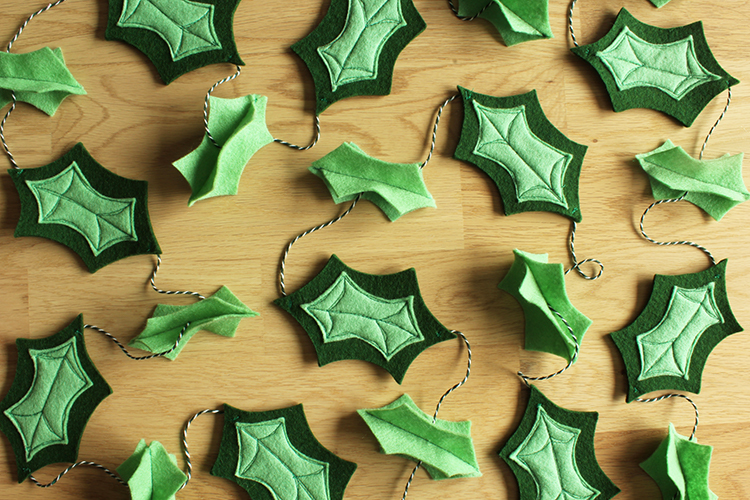 Felt Holly Leaf Garland
