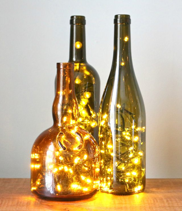 Christmas Lights in Wine Bottle Decoration