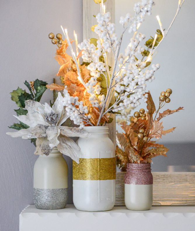 Glittery Winter White Mason Jars