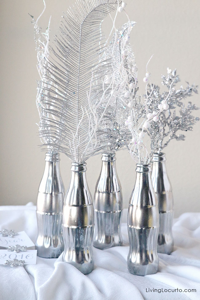 Mercury Glass Coke Bottle Centerpiece