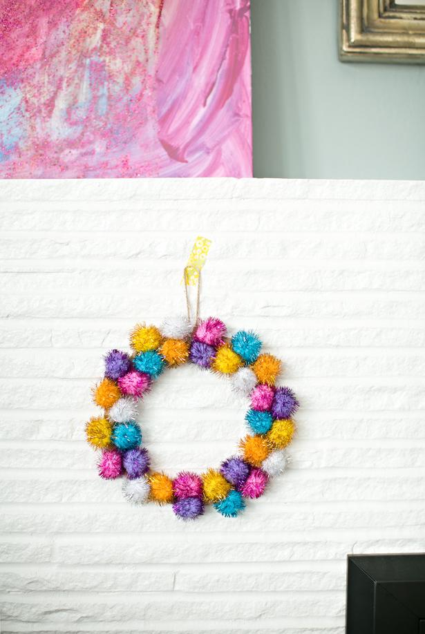 Sparkly Pom Pom Wreath