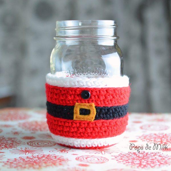 santa mason jar cosy