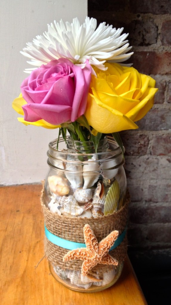 Beachy Mason Jar Vase