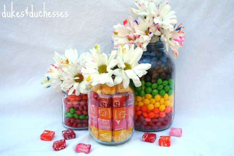 Candy-Filled Mason Jar Vases
