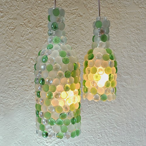 Glass Pebble Wine Bottle Lights