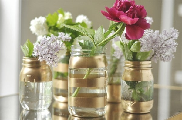Gold Mason Jar Flower Vases