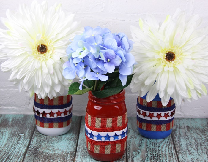 Pretty Patriotic Red White and Blue Mason Jar Vases