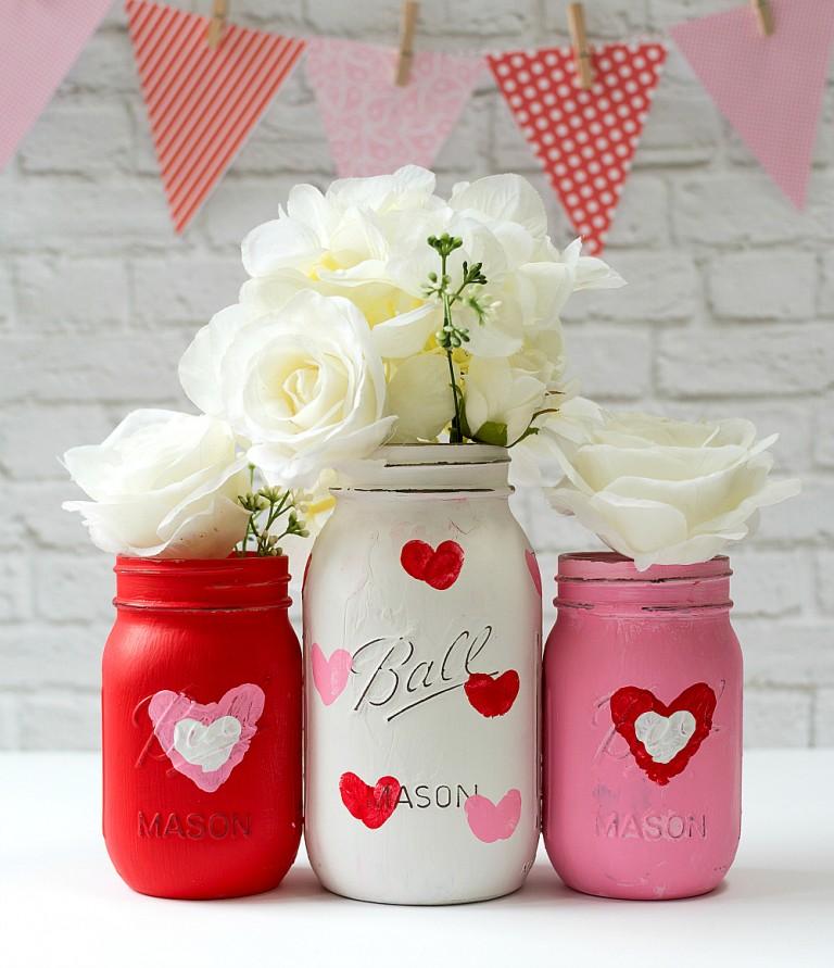 Valentine's Day Mason Jar Vases