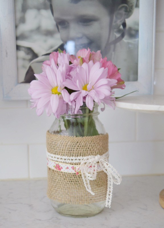 Mason Jar Flower Vase with Burlap and Ribbon