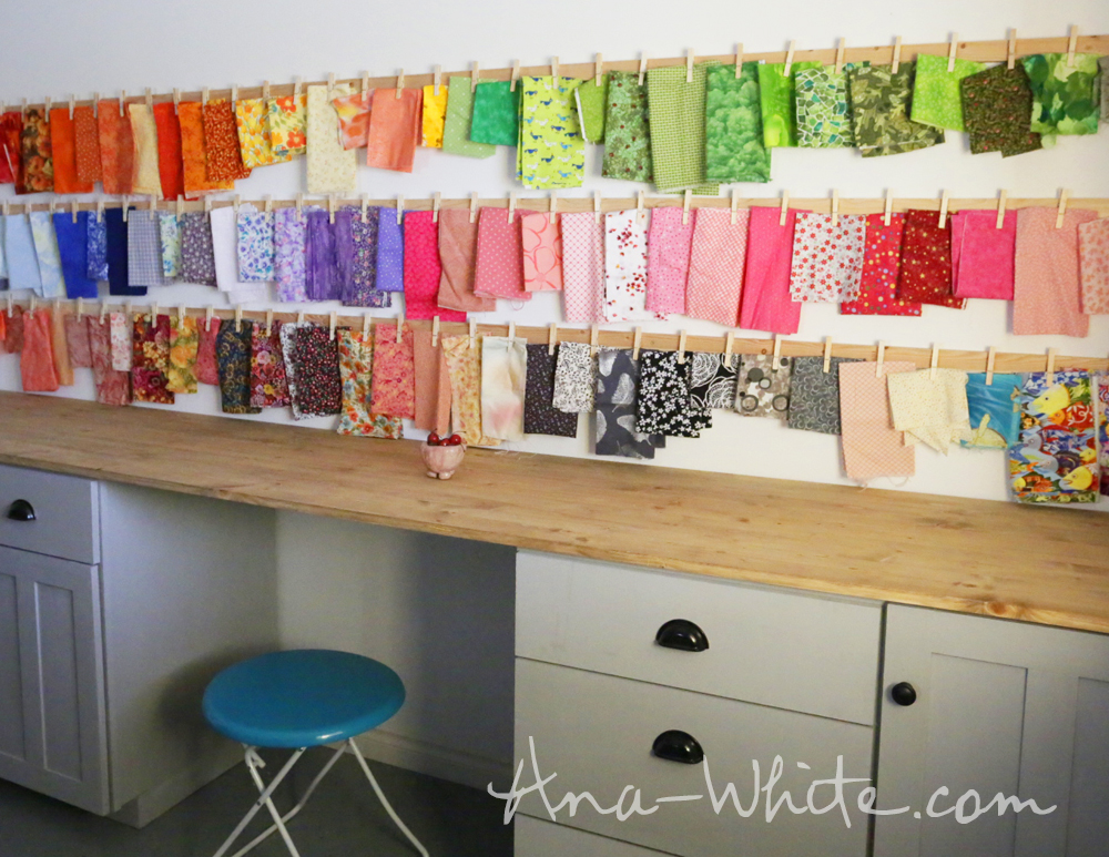 Clothespin Fabric Storage Rails