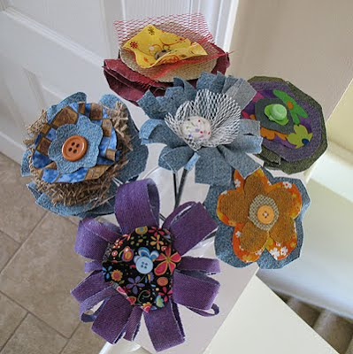Denim Fabric Flowers