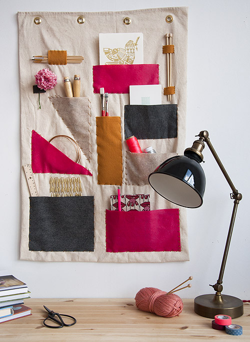 Hanging Scrap Fabric Wall Organizer