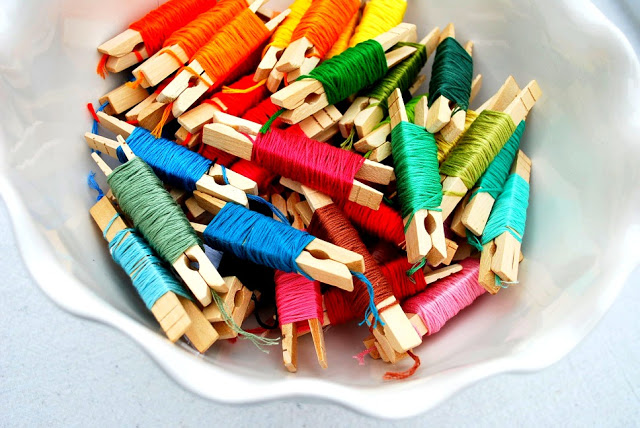 Organizing Embroidery Floss With Clothpins