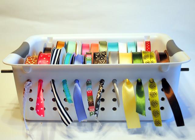 Plastic Bin Ribbon Organizer