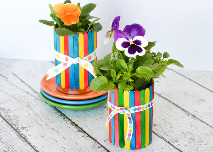 Popsicle Stick Flower Pots