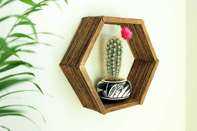Popsicle Stick Hexagon Shelf
