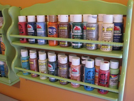 Spice Rack as Acrylic Paint Holder