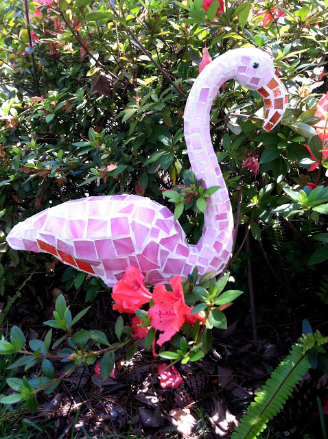 Flamingo Mosaic Garden Art Made from Plastic Pink Dollar Store Flamingo