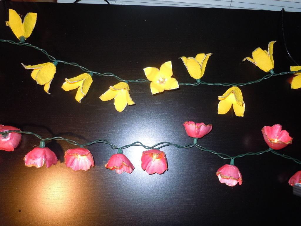 Egg Carton Flower Light Garland