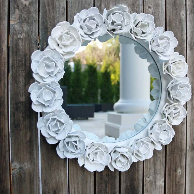 Egg Carton Flower Mirror Frame