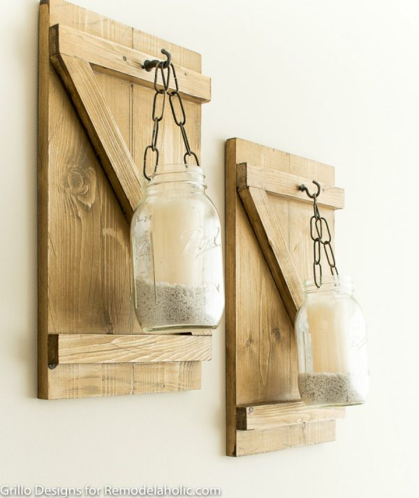 Farmhouse Style Hanging Mason Jar Candle Holders