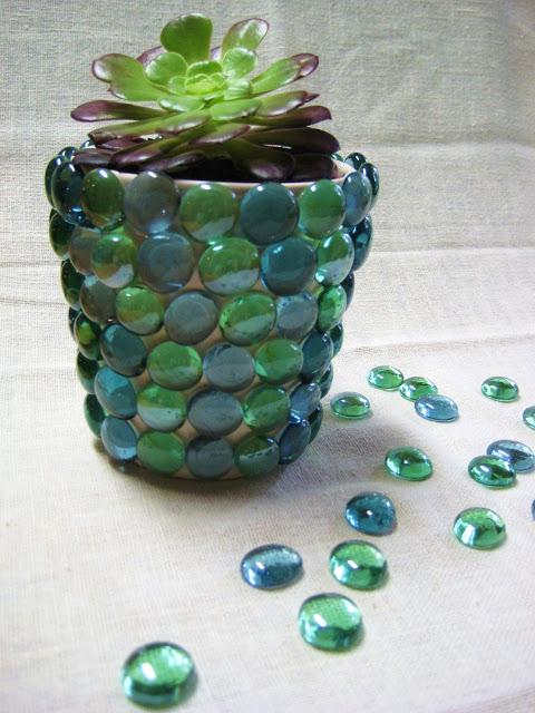 Glass Gem Flower Pot