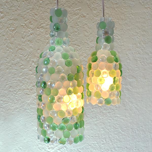 Glass Gem Wine Bottle Pendant Lamps