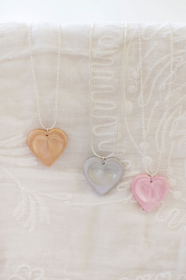 Heart Thumbprint Charm Necklaces