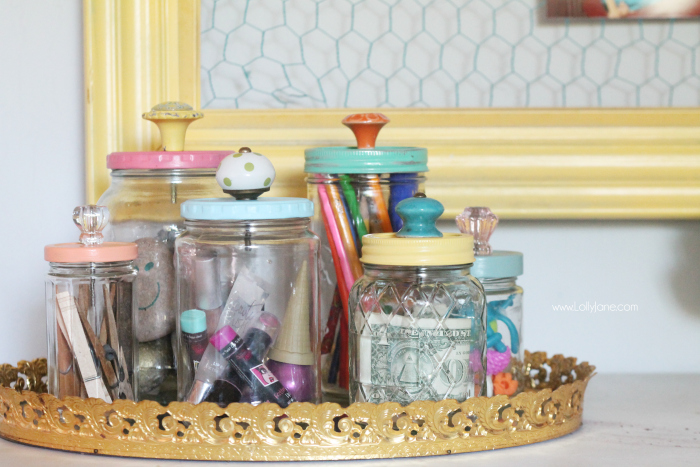Mason Jar Storage Containers with Knobs on Tops
