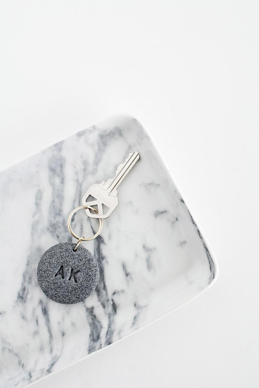 Monogram Clay Keychain