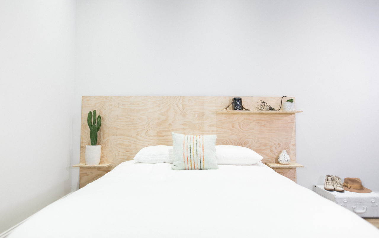Minimalist Plywood Shelf Headboard
