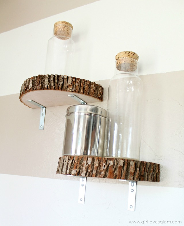 Modern Industrial Wood Slice Shelf