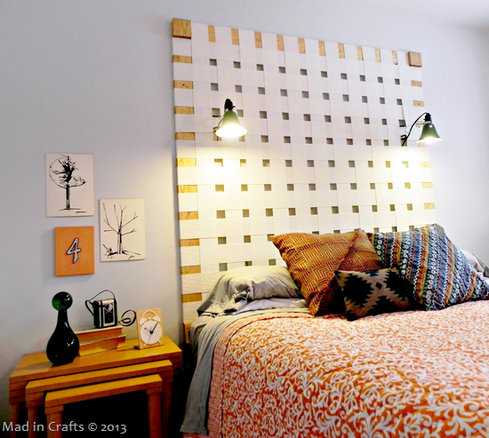 Woven Headboard from Upcycled Vertical Blinds