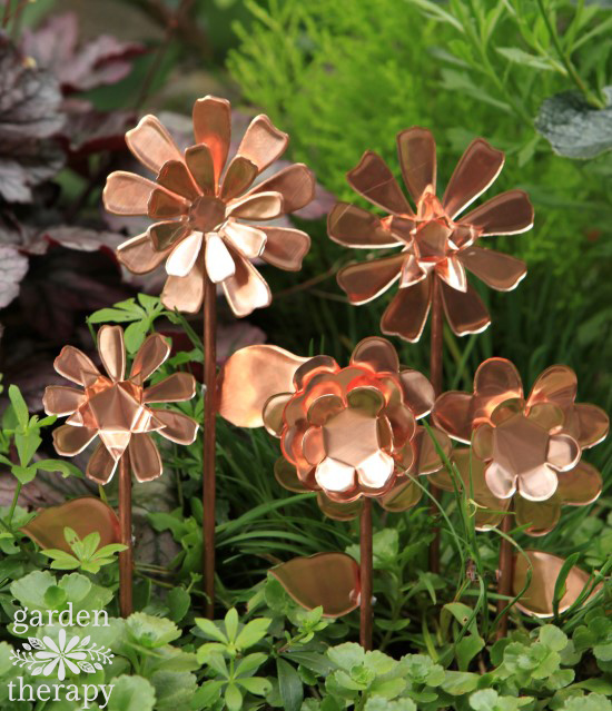 Copper Garden Art Flowers