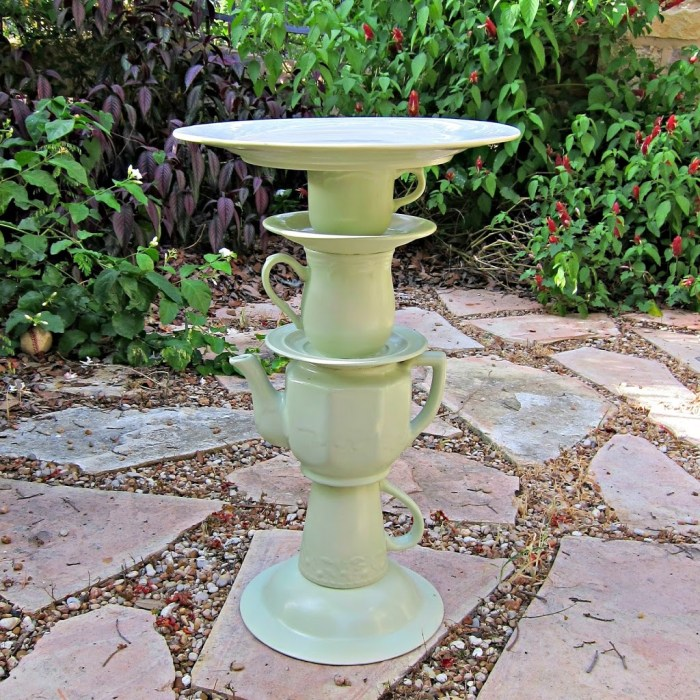 Tea Pot Bird Bath Garden Art