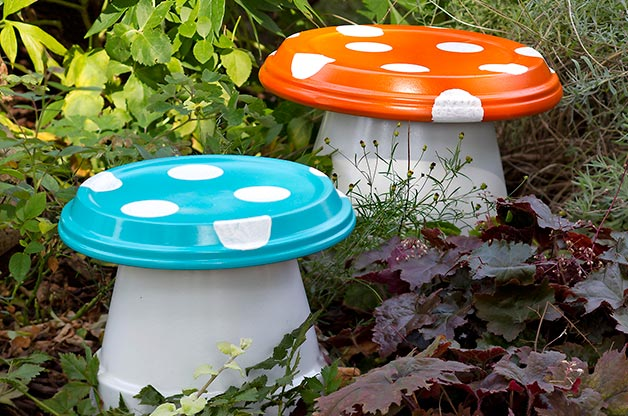 Terra Cotta Garden Mushrooms